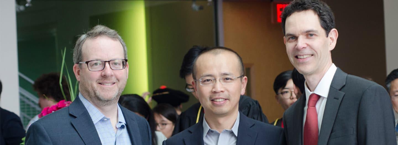 Professors Geoff Coates, Peng Chen, and Brian Crane