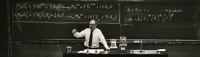 Professor Emeritus Harold Scheraga Lecturing